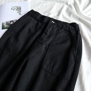 Image 4 - ג ינס נשים גבוהה אלסטי מותניים שחור רופף ישר נשים מכנסיים יוניסקס כל התאמה מקרית Harajuku נשים שיק יומי BF ג ינס