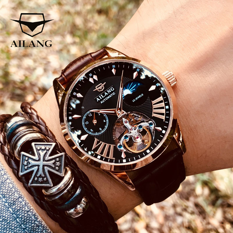 AILANG Men's Watch Clock Steampunk Mechanical Swiss-Diesel-Watches Moon-Phase Transparent title=