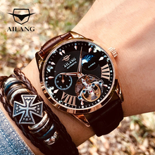 AILANG Quality Tourbillon Mens Watch Men Moon Phase Automatic Swiss Diesel Watches Mechanical Transparent Steampunk Clock