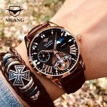 AILANG 품질 Tourbillon 남자 시계 남자 달 단계 자동 스위스 디젤 시계 기계식 투명 Steampunk 시계