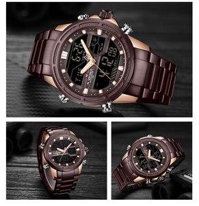 Image 5 - Naviforce relógios masculinos marca de luxo militar à prova dwaterproof água led digital esporte relógio masculino aço inoxidável 9138