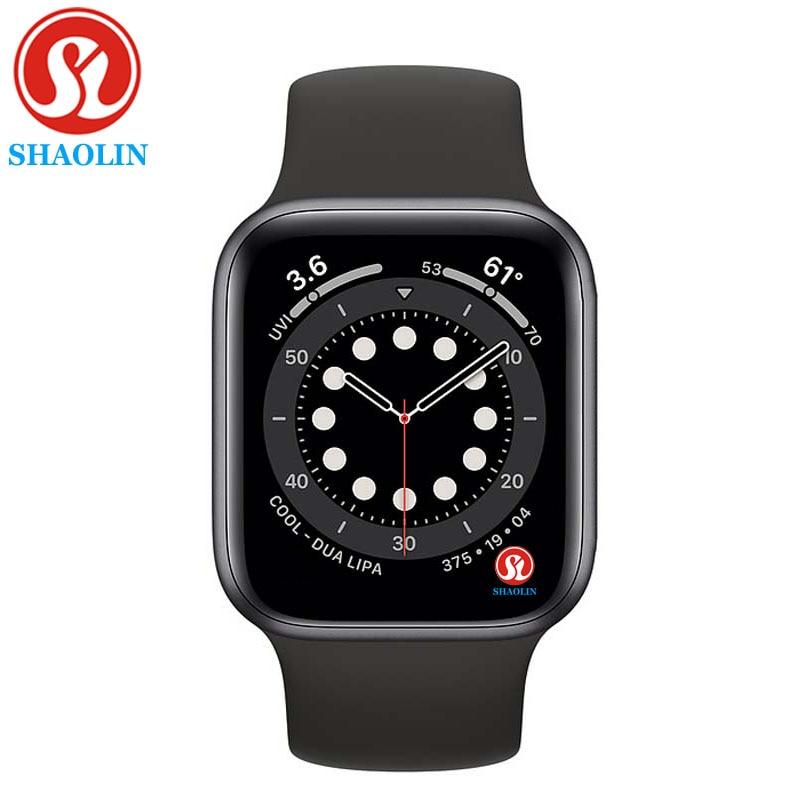 Shaolin original relógio inteligente série 6 dispositivos wearable sync notifier para apple relógio android bluetooth smartwatch (botão vermelho)