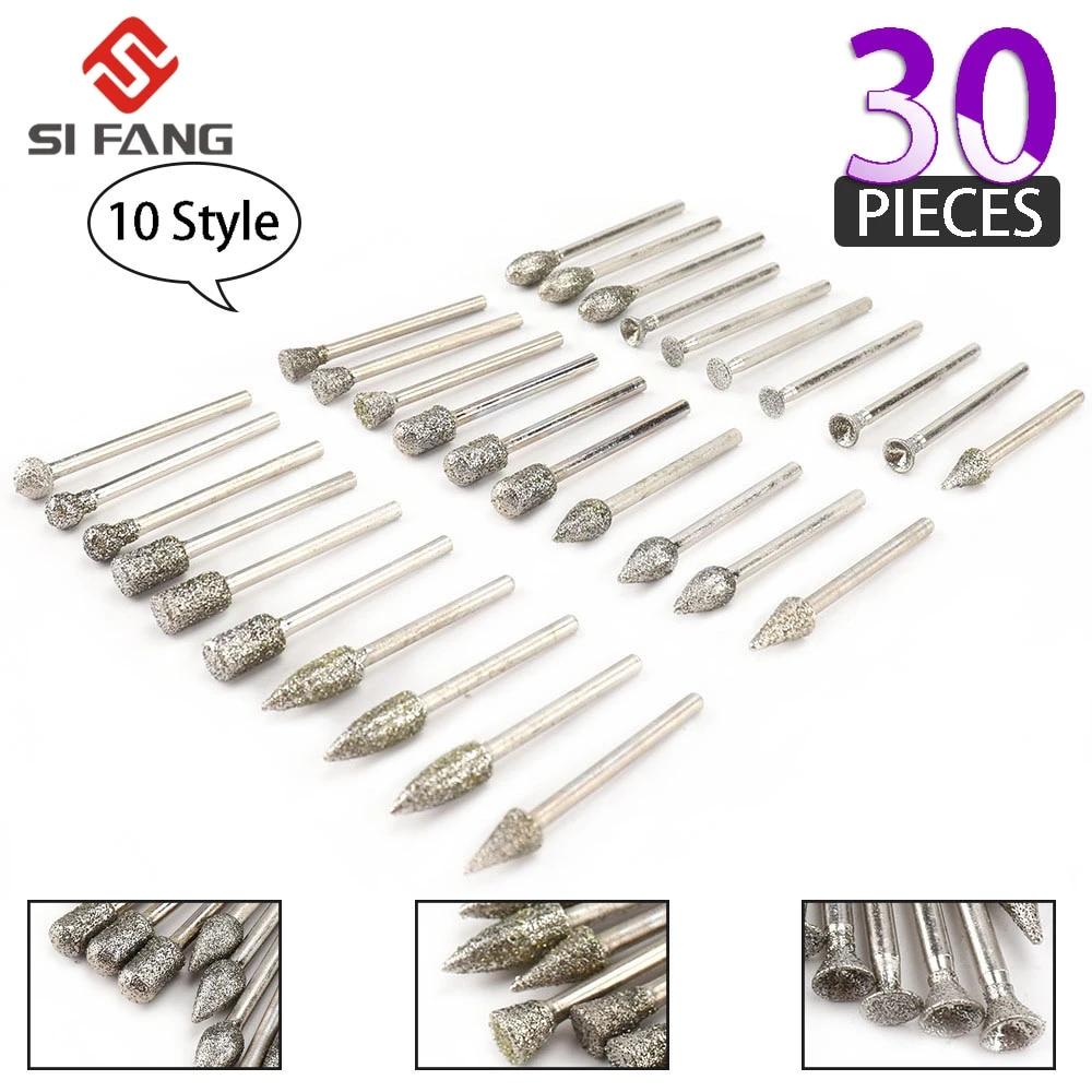 50Pcs Shank Diamond Grinding Polishing Set Drill Bits for Carving Abrasive Tools