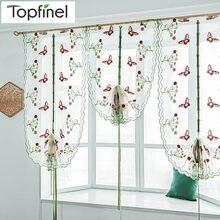 Top Finel Schmetterling Tüll für Fenster Römische Farbtöne Fenster Vorhang Jalousien Gestickte Sheer Vorhänge für Küche Wohnzimmer Panel