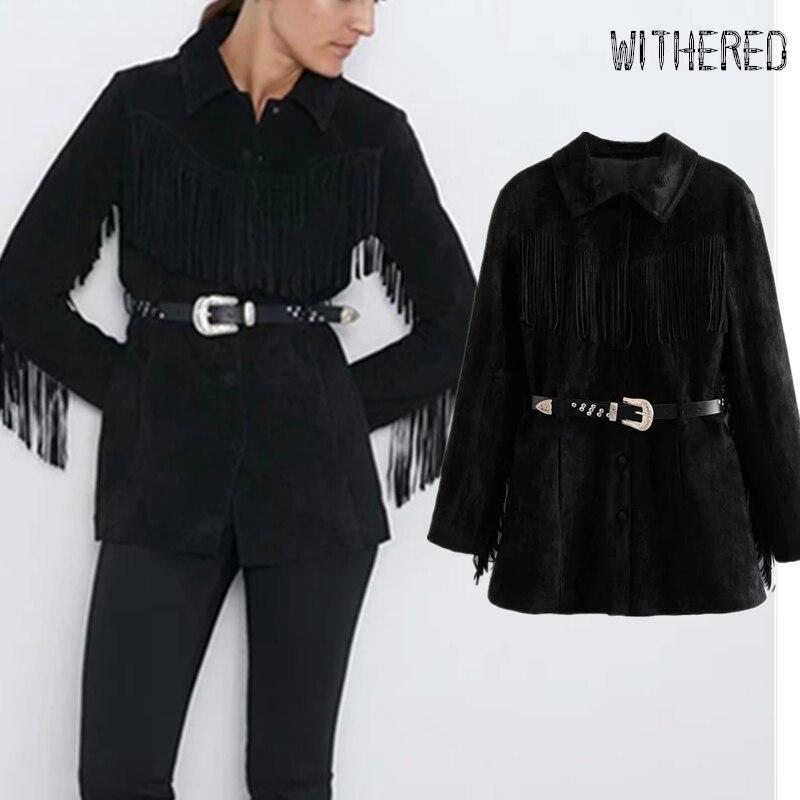 Withered winter jacket casaco england vintage high street suede tassels belt feminino jaqueta feminina leather jacket women tops