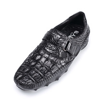 Fancy Genuine Crocodile Skin Soft Rubble Sole Mens Flat Shoes Authentic Exotic Alligator Leather Hook and Loop Male Black Shoes