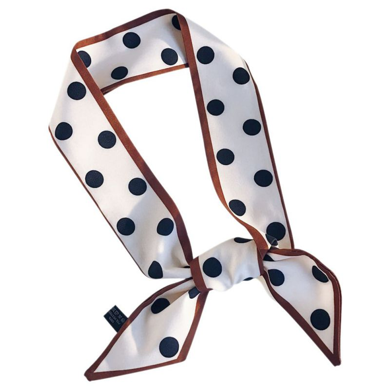 <font><b>90</b></font> * 5cm Women Artificial Silk Scarf Multi-purpose Ladies Fashiion Polka Dot Scarves image