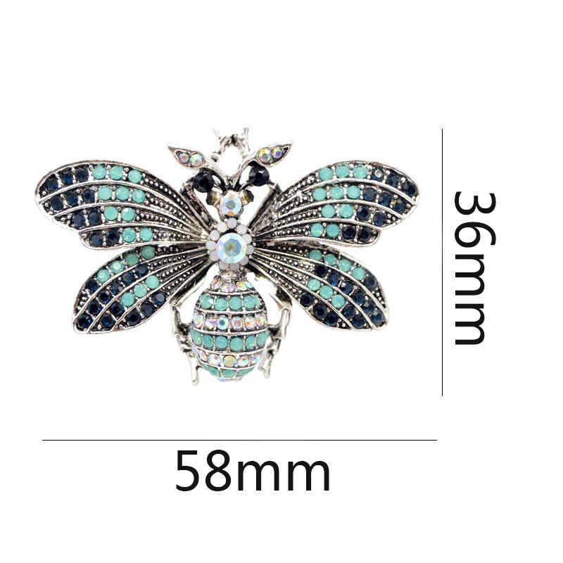 Vintage Rhinestone Vintage Big broszka pszczoła letni płaszcz akcesoria biżuteria dobry prezent czarny