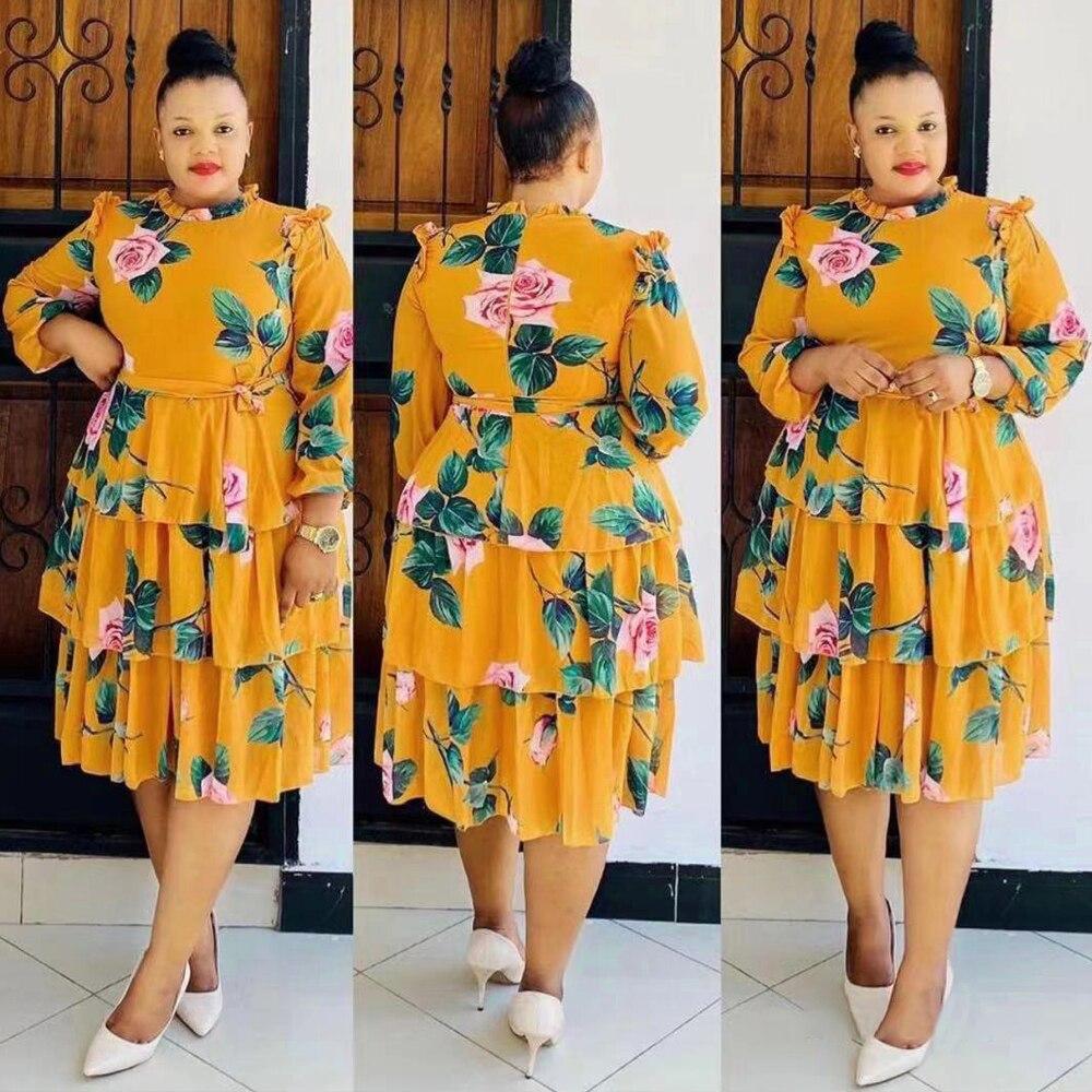Women Kaftan African Print Floral Boho Dress 1