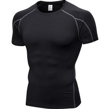 Secado rápido camisa hombres Rashgard gimnasio Fitness deporte Camiseta culturismo gimnasio ropa entrenamiento shorts de manga Camiseta para los hombres