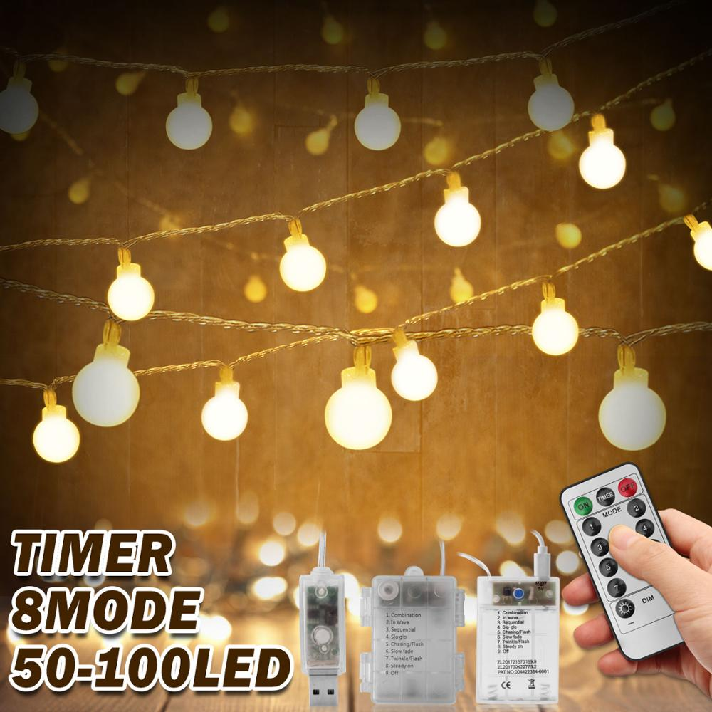 Outdoor LED String Lights Ball Battery Operated Street Garland Festoon Remote Fairy Party Christmas Decorations for Home Bedroom(China)