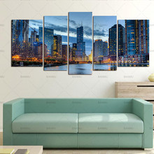 5 Panels Chicago Cityscape Wall Canvas Painting Artwork Giclee Art Pictures For Living Room Decor No Frame