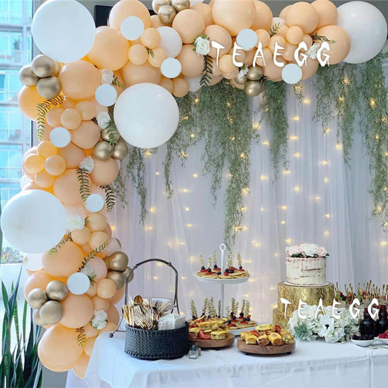 118Pcs Girl Happy Birthday Party Decoration Helium Balloon Garland Arch Kit For Peach White Latex Ballons Baby Shower Boy