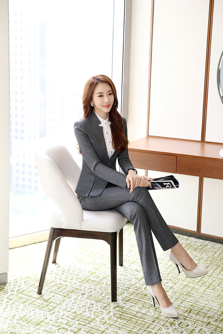Female Elegant Business Uniform 2 Piece Set Pant Suits for Ladies Women's Business office Work Wear Blazers Trouser Sets Jacket