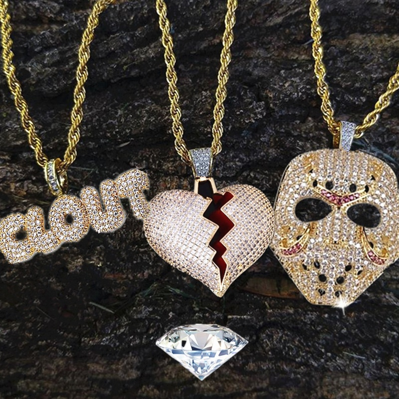 Rhinestone Mask Long Necklace Stainless Steel Pendant Necklace Hip Hop Broken Heart...