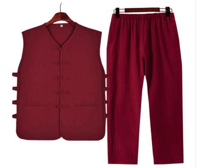 9 Kleuren Rood/Blauw Zomer Mannen Katoen & Linnen Wing Chun Lag Zen Kleding Sets Tang Pak Shaolin Monnik kung Fu Wushu Uniformen Vest