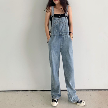 COYOUNG Store Plus Size Wide Leg Jeans Jumpsuit Women Spring Autumn Fashion Casual Suspenders Kawaii Front Pocket Denim Overalls