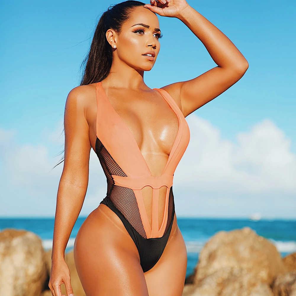 Sexy delle donne di Un Pezzo del Costume Da Bagno Momokini Maglia Della Rappezzatura di Alta Cut Vestito di Nuoto Della Spiaggia di Estate Costume Da Bagno