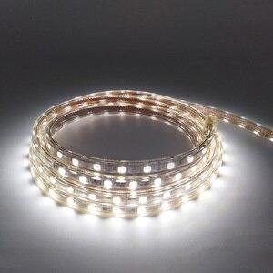 Image 1 - 220V 240V SMD 5050 led şerit esnek ışık 5m 10m 15m 20m 25m sıcak beyaz/beyaz/mavi priz 60leds/m su geçirmez led şeritler