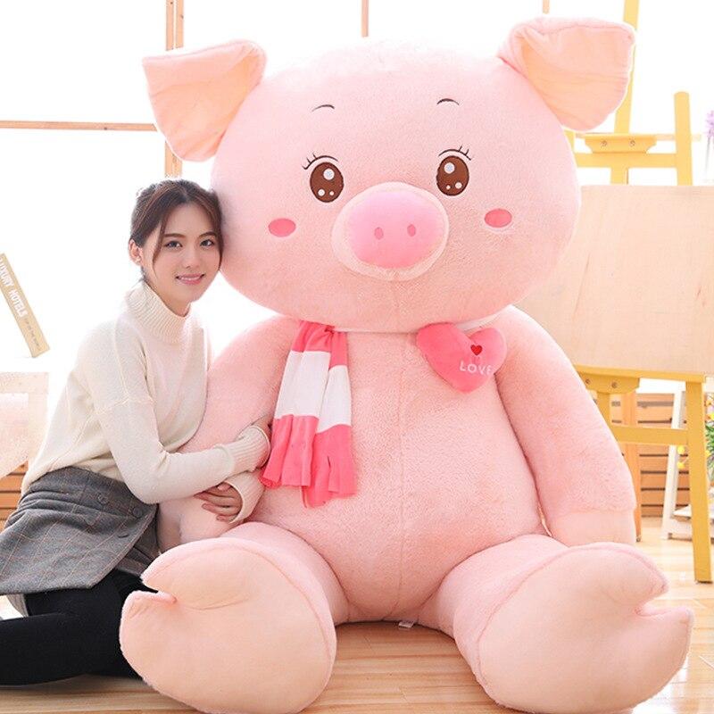 [Забавный] Большой размер 170 см, очень милая мягкая детская кукла поросенок, плюшевая игрушка, подушка для удержания, украшение дома, Детский