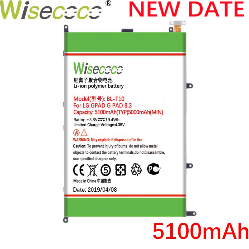 Wisecoco <font><b>BL</b></font>-<font><b>T10</b></font> 5100mAh New Battery For LG GPAD G PAD 8.3 <font><b>BL</b></font>-<font><b>T10</b></font> VK810 V500 Phone High Quality image
