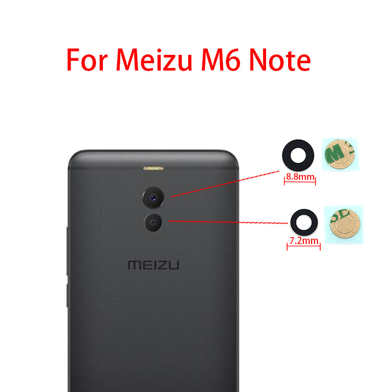 Glass Lens For MEIZU M5 M6 NOTE 5.5 M5s M6 6S 16th M6T Note 8 V8 Rear Camera Lens Back Camera Glass Lens With Adhesive Sticker
