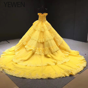 Image 3 - V neck Yellow Long Evening Dress 2020 Applique Lace High Quality Puffy Prom Gowns Vestido De Festa Off The Shoulder Evening Gown