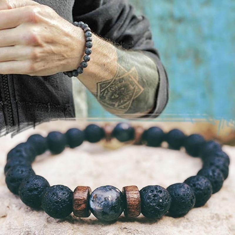 Natural Volcanic Lava bracelet Rock Stone Strand Bracelets Wood bead Black Charm Stone jewelry Women Men accessories Gift