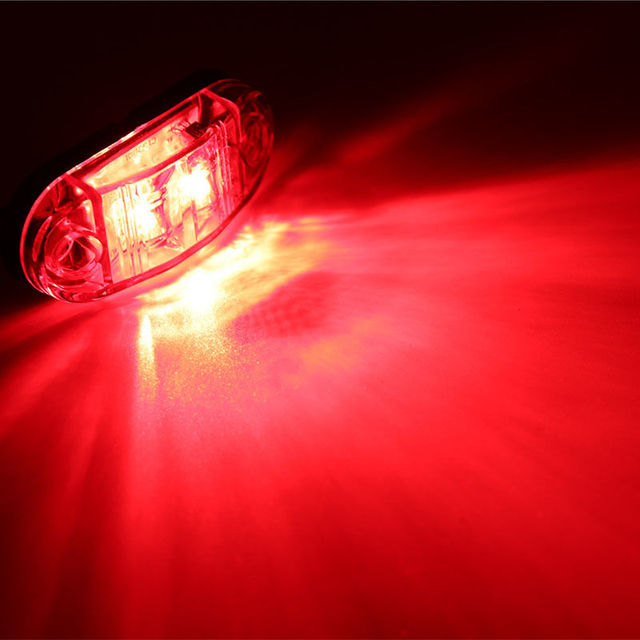 2Pcs 12V / 24V LED Side Marker Lights Car External Lights Warning Tail Light Auto Trailer Truck Lorry Lamps Red color 3