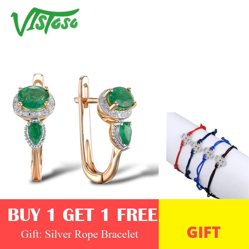 VISTOSO boucles d'oreilles en or pour femmes 14K 585 or Rose glamour élégant brillant émeraude étincelant diamant luxe à la mode bijoux fins