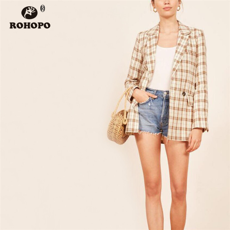 ROHOPO Wide Striped Plaid Slim Khaki Blazer Double Buttons Elegant Ladies Autumn Notched Collar Outwear #9135