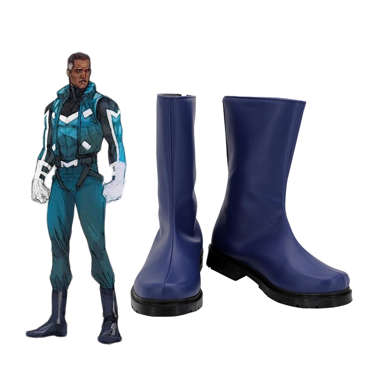 Manga Blue Marvel Adam Bernard Brashear Cosplay Boots Blue Shoes Custom Made