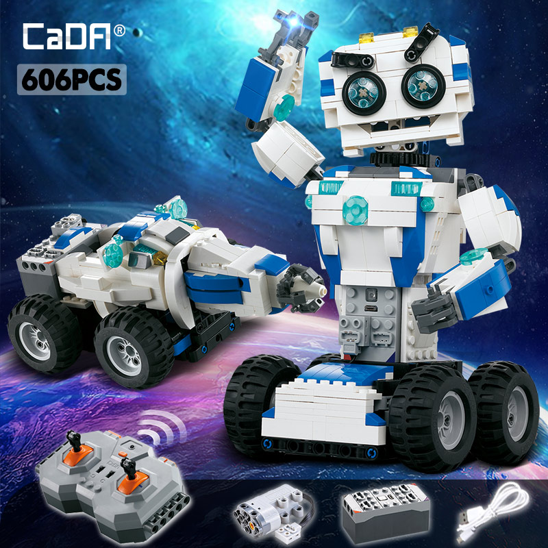 Cada 606Pcs RC Robot 2 IN 1 Mode Transform Building Blocks Legoingly Technic MOC Bricks Remote Control Robots Car Toys For Kids