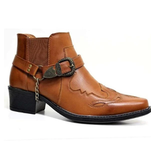 Boots Male Heel-Cowboy Winter New-Fashion Stylish Med Ankle Pu HB082 Buckle-Design Zapato-De-Hombre