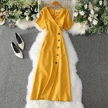 Beiyingni-vestido de oficina para Mujer, Vestidos de botones elegantes informales ajustados Vintage para fiesta de Romance, rojo, rosa, amarillo