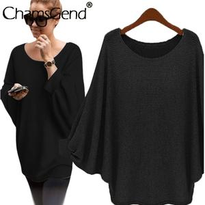 Loose Sweater Knitted Pullover Long-Sleeves Women Oversized Mujer Batwing Round-Neck