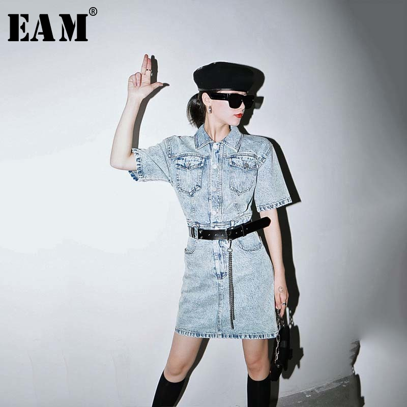 [EAM] Women Blue Pocket Split Joint Denim Mini Dress New Lapel Short Sleeve Loose Fit Fashion Tide Spring Summer 2020 1W228