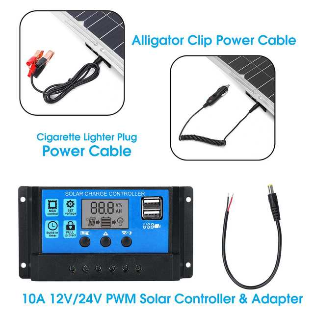 100W 18V MonocrystalineSolar Panel Dual 12V/5V DC USB Charger Kit with 10A Solar Controller & Cables 4