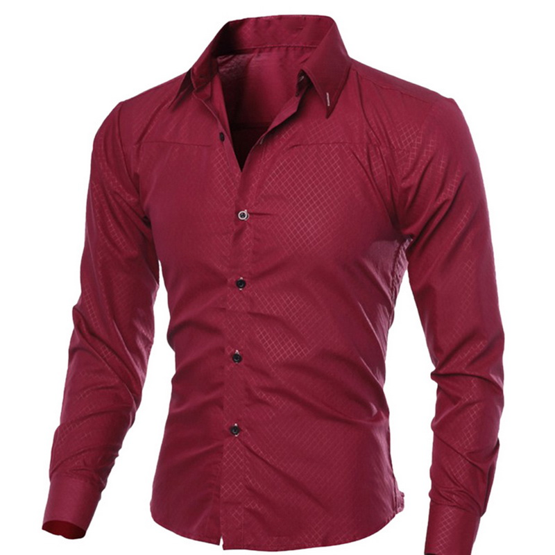 Spring Autumn Men's Slim Fit Long Sleeve Dark Solid Color Lapel Top Large Size Shirt Casual Button Size S-5XL Shirts