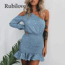 Rubilove sexy party club dot dress women one shoulder ruffle mini dress bodycon female vestidos ruffle detail dot textured embroidery dress