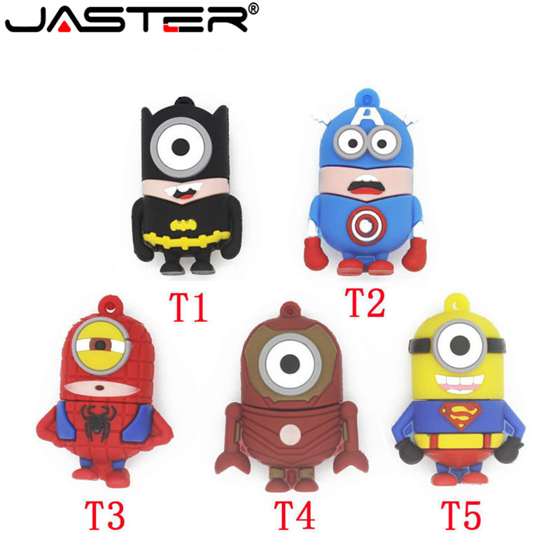 JASTER Cartoon 64GB Cute Spiderman Superman Batman USB Flash Drive 4GB 8GB 16GB 32GB Pendrive USB 2.0 Usb Stick