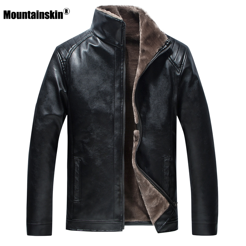 Mountainskin New Leather Jacket Mens Winter Fleece Men's Thick Motorcycle Windproof Warm Coat Male Fashion Brand Clothing SA800