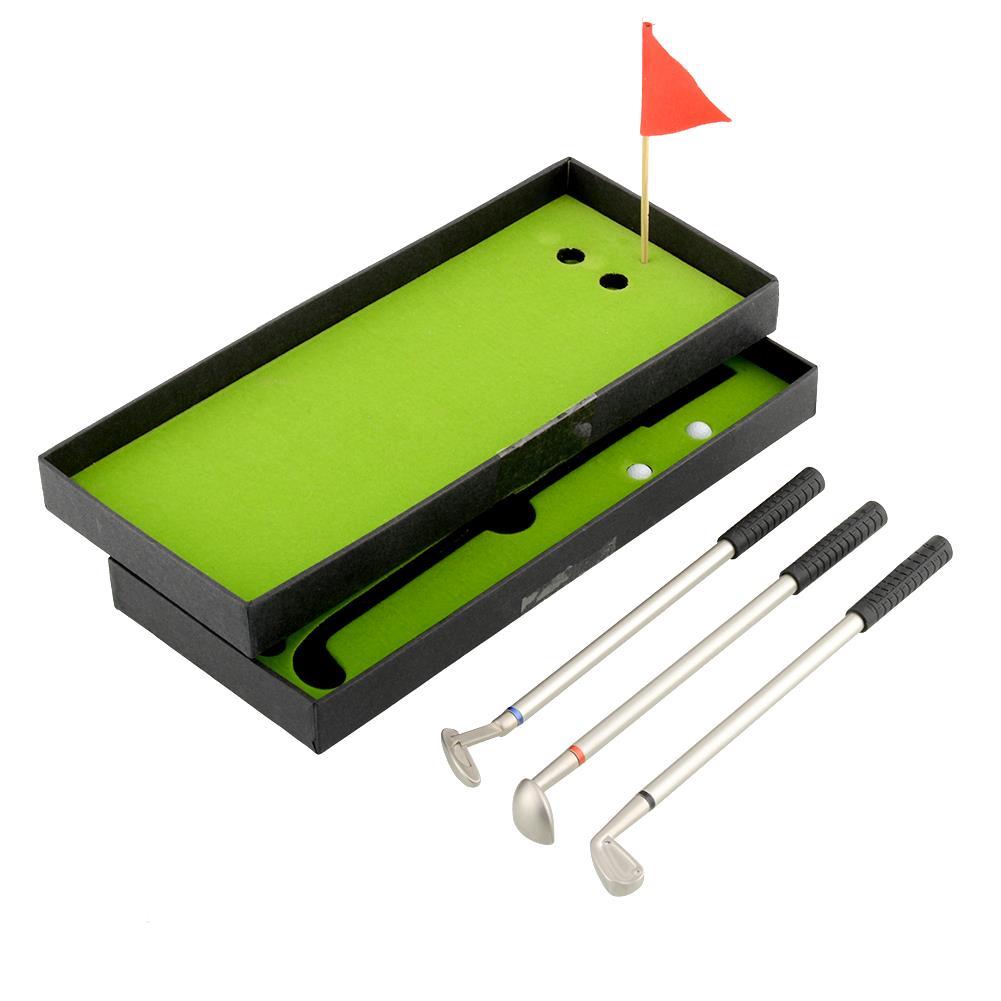 3Pcs Mini Golf Outdoor Clubs Models Ballpoint Pen Flag Putter Iron Set Gift