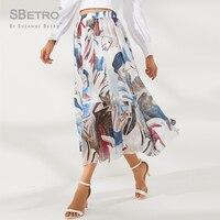 SBetro Abstract Print Elastic Waist Skirt Summer Party Skirt Women Solid A Line Classy Romantic Elegant Skirt