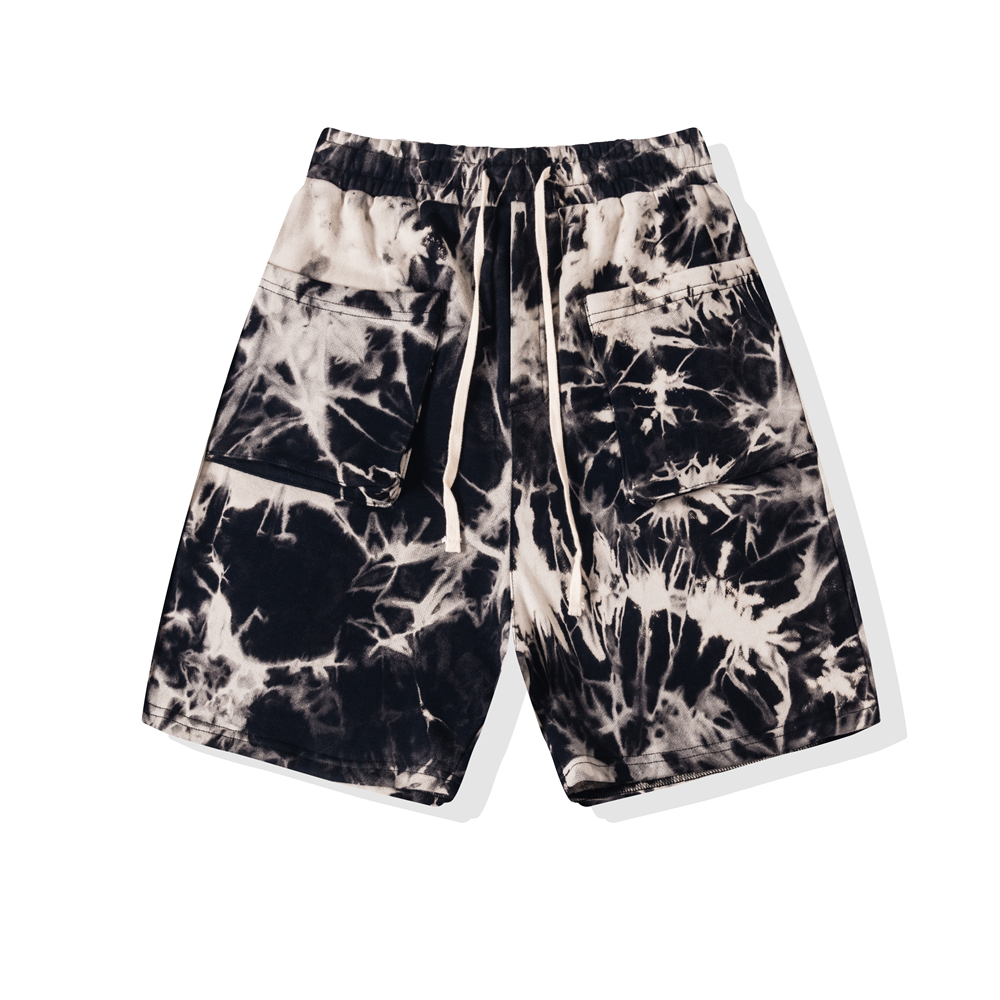 Vintage Tie-Dye Sweat Shorts Patched Pockets 2020 Summer Cotton Streetwear