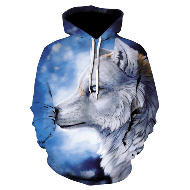 Ice Wolf hoodie street wear is sweatshirt casual hoodie 3D jumper harajuku track suit male HipHop