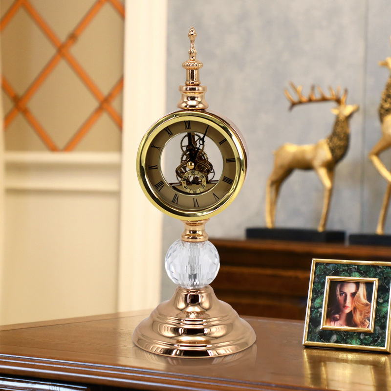 Stand Antique Desk Clock Digital Luxury Old  Electronic Mechanical Table Watch Standing Shabby Chic Reloj Mesa Clocks BY50ZZ
