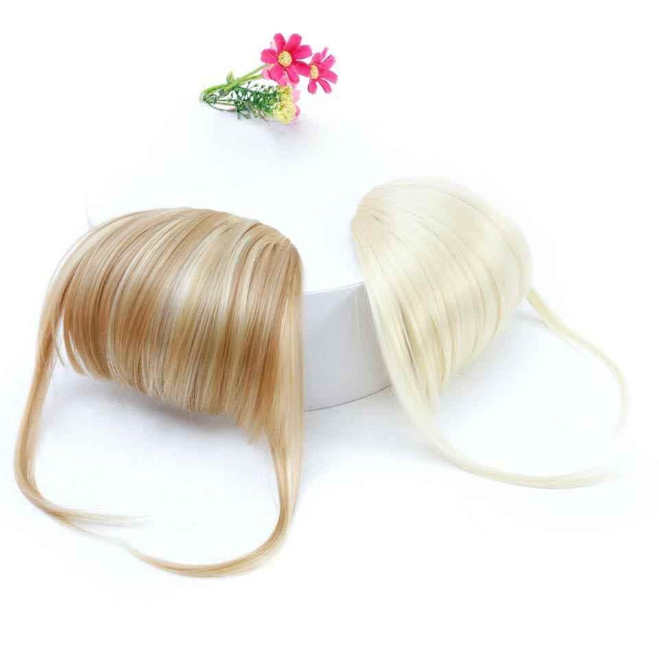Manwei natural longa reta sintético blunt franja de alta temperatura fibra marrom feminino clip-in completa franja com franja de cabelo
