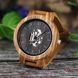 Image 4 - BOBO BIRD drewniane zegarki dla mężczyzn Casual kwarcowy zegarek męski часы мужские czarny skórzany pasek ze skóry wołowej z drewnianym pudełku Dropship