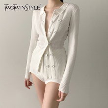 TWOTWINSTYLE White Knitted Cardigans Female V Neck Long Sleeve One Size Slim Sweater For Women 2020 Fashion New Clothing Fall